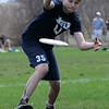 TIM JEAN/Staff photo<br />   <br /> Andover Ultimate's Quard Johnson reaches to make a catch as his team practices in-between a match during the 17th annual Invitational, held at the Greater Lawrence Tech School in Andover.     4/28/18