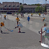 RYAN HUTTON/ Staff photo<br /> Kids from Wood Hill and Doherty Middle Schools play a round of street hockey at the Andover Hockey Association street hockey tournament at Merrimack College on Sunday.