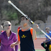 TIM JEAN/Staff photo<br /> <br /> <br /> North Middlesex Regional coach Julie McIntyre, left, cheers on Henry as he competes in the javelin during a unified track meet against North Middlesex Regional. The event was held in the Lovely Stadium at Andover High School. 5/1/18