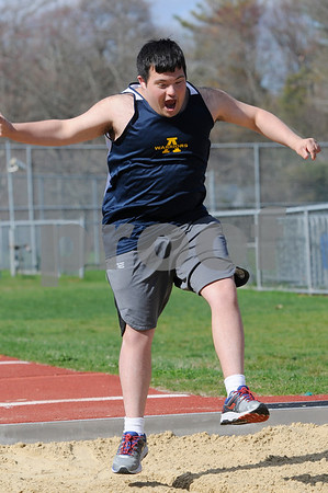 TIM JEAN/Staff photo<br /> <br /> <br /> Andover's Michael Briggs competes in the long jump during a unified track meet against North Middlesex Regional. The event was held in the Lovely Stadium at Andover High School. 5/1/18
