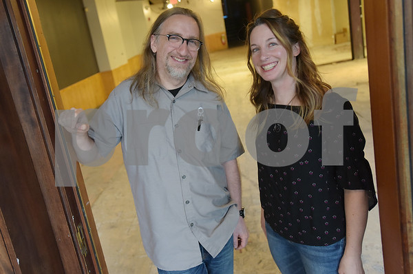 TIM JEAN/Staff photo  Christian Bachmann and Jennifer Schneidewent will be opening a wine bar and listening room business called Theory. The new business expected to open in the fall, will be in the former Brueggers Bagels space in downtown Andover.     5/22/18