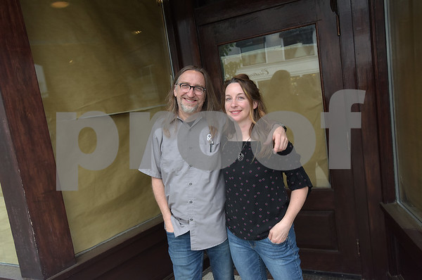 TIM JEAN/Staff photo  Christian Bachmann and Jennifer Schneidewent of Andover, will be opening a wine bar and listening room business called Theory. The new business expected to open in the fall, will be in the former Brueggers Bagels space in downtown Andover.     5/22/18