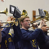 TIM JEAN/Staff photo <br /> Ethan Paulo, center, of the Andover High School Marching Band performs during a school spirit rally in the Dunn Gymnasium at Andover High School. 11/27/19