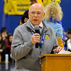 TIM JEAN/Staff photo <br /> <br /> Andover School Superintendent Sheldon H. Berman speaks during a school spirit rally in the Dunn Gymnasium at Andover High School. Student athletes received a national recognition from the Special Olympics as a Unified Champion School.   11/27/19