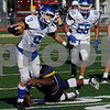 TIM JEAN/Staff photo<br /> <br /> Methuen running back Zac Bergeron breaks tackles as he runs for a big gain against Andover during the D1 North playoff football game. Andover defeated Methuen 40-12.     11/2/19