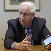 TIM JEAN/Staff photo<br /> <br /> State Rep. Jim Lyons talks about getting hundreds of text and emails he responds to about the gas crisis in Andover while he answers questions during a editorial board meeting.  10/4/18