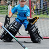 TIM JEAN/Staff photo<br /> <br /> Eli Scott, 10, looks to make a save in net during the Andover Hockey Association's third annual street hockey festival held at Merrimack College.    8/3/19