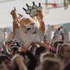 AMANDA SABGA/Staff photo<br /> <br /> Mascot Bob the Bobcat leads students in dance to music by Maroon 5 as Bancroft Elementary hosts their annual Patriots' rally in anticipation of the Super Bowl on Sunday.<br /> <br /> 2/1/19