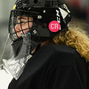 CARL RUSSO/Staff photo. TOWNSMAN: Andover high goalie, Lillian Jagger and players from both teams wore Colleen Ritzer's initials on their helmets in memory of Colleen. <br /> <br /> The annual Colleen Ritzer memorial hockey game between Andover high and Beverly/Danvers was played Wednesday night at the Raymond Bourque arena at Endicott College. The game benefits the Colleen Ritzer Memorial Scholarship Fund. Colleen Ritzer of Andover, a Danvers high school teacher was murdered in 2013 by her student. 1/9/2019