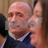 MIKE SPRINGER/Staff photo<br /> School Committee member Paul Murphy listens to fellow incumbent Shannon I. Scully during the Service Club of Andover's 2019 candidates forum Tuesday evening at the Andover Public Safety Center.<br /> 3/5/2019