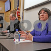 MIKE SPRINGER/Staff photo<br /> Town Moderator Sheila M. Doherty, right, and challenger Keith Saxon appear during the Service Club of Andover's 2019 candidates forum Tuesday evening at the Andover Public Safety Center. At far left is the forum's moderator, Brad Heim.<br /> 3/5/2019