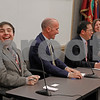 MIKE SPRINGER/Staff photo<br /> School Committee candidates laugh during a light moment in the Service Club of Andover's 2019 candidates forum Tuesday evening at the Andover Public Safety Center. From left are challenger Joseph P. Grieve, incumbent Paul Murphy, challenger Sishan Wang and incumbent Shannon I. Scully.<br /> 3/5/2019