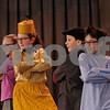 """MIKE SPRINGER/Staff photo<br /> Fifth-graders, from left, Nikki Cipriano, Alivia Baldwin, Jamie Finckler and Blaise Sachetti rehearse a scene in the play """"Honk! Jr"""" at South School in Andover. Baldwin plays a mother duck and the other three play her ducklings.<br /> 3/7/2019"""