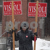 AMANDA SABGA/Staff photo<br /> <br /> Andover Selectman Alex Vispoli holds signs in front of Old Town Hall on Saturday.<br /> <br /> 3/2/19