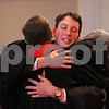 MIKE SPRINGER/Staff photo<br /> Andrew Lloyd Harris receives a hug from a clergyman during his ordination as a minister in the United Church of Christ on Sunday at South Church in Andover.<br /> 11/10/2019