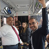 TIM JEAN/Staff photo<br /> <br /> Lawrence Mayor Daniel Rivera, left, and city council president Kendrys Vasquez, right, ride the bus to promote that its free. The City of Lawrence is paying the MVRTA to run three free bus routes within the city, for the next two years.    9/10/19