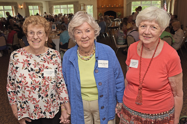 TIM JEAN/Staff photo<br /> <br /> Event organizers Barbra Simonian, left, and Sandra Perrault, right, both class of '54 are leased to take over for previous organizer Clair Pollard, class of '42 pose for a photo during the Methuen High School class of 1938-1956 reunion luncheon at Harris' Pelham Inn. About 200 Methuen graduates enjoyed the lunch and dancing. The organizers also announced the eight scholarship recipients for this year and were awarded to Ana Raquel Romero Acosta, Thomas Barry, Jileen Nazario Encarnacion, Megan O'Shea, Gisela Perez, Julia Sugden, Anastasia Yarid, and Morgan Zraket.  9/11/19