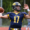 CARL RUSSO/Staff photo Andover quarterback, Victor Harrington looks to pass. The Andover Warriors were defeated 31-12 by the Wayne Valley Indians of New Jersey in a non conference football game Friday afternoon. 9/6/2019