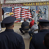 TIM JEAN/Staff photo<br /> <br /> Lawrence Fire Chief Brian Moriarty speaks during the annual 9/11 memorial ceremony at the Ladder 4 Fire Station in Lawrence.   9/11/19