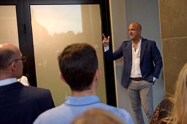 TIM JEAN/Staff photo<br /> <br /> Paul LaRosa, owner of the new restaurant, LaFina, speaks during a ribbon cutting ceremony for the redevelopment project for the Draper Block in downtown Andover.   9/26/19