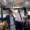 TIM JEAN/Staff photo<br /> <br /> Lawrence Mayor Daniel Rivera, right, and city council president Kendrys Vasquez, left, ride the bus to promote that its free. The City of Lawrence is paying the MVRTA to run three free bus routes within the city, for the next two years.    9/10/19