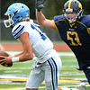 CARL RUSSO/Staff photo Andover's A J Heidtke chases down Wayne Valley's quarterback for the tackle. The Andover Warriors were defeated 31-12 by the Wayne Valley Indians of New Jersey in a non conference football game Friday afternoon. 9/6/2019