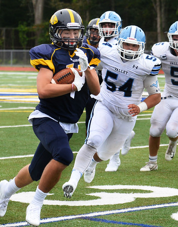 CARL RUSSO/Staff photo Andover freshman, Lincoln Beal finds running room. The Andover Warriors were defeated 31-12 by the Wayne Valley Indians of New Jersey in a non conference football game Friday afternoon. 9/6/2019