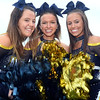 CARL RUSSO/Staff photo Andover high Warrior 2019 football cheerleading captains. From left, seniors, Emily Grady and Kate Lyons and junior Ashley Veneto cheer for their team.<br /> <br /> The Andover Warriors were defeated 31-12 by the Wayne Valley Indians of New Jersey in a non conference football game Friday afternoon. 9/6/2019