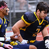CARL RUSSO/Staff photo Andover captains, Kelvin Davila, left and Michael Slayton rest on the bench with seconds left in the game. The Andover Warriors were defeated 31-12 by the Wayne Valley Indians of New Jersey in a non conference football game Friday afternoon. 9/6/2019