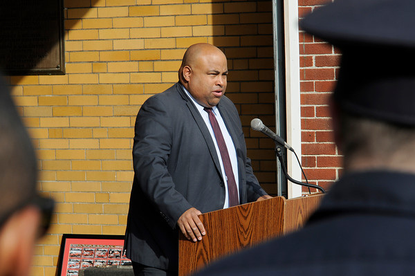 TIM JEAN/Staff photo<br /> <br /> Lawrence Mayor Daniel Rivera speaks during the annual 9/11 memorial ceremony at the Ladder 4 Fire Station in Lawrence.   9/11/19