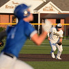 CARL RUSSO/staff photo Andover's third baseman, Evan Doheny makes the play before making the long throw to first base for the out as Haverhill runner sprints down the first base line. Andover defeated Haverhill 2-1 in baseball action.  8/6/2020
