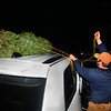 CARL RUSSO/staff photo. Peter Berube, Andover Youth Services alumnus and seven year Tree Lot volunteer, ties a Christmas tree to a customer's car roof. Andover Youth Services has opened their annual Christmas tree lot, located next to the high school. <br /> <br /> Christmas trees, wreaths of all sizes as well as other decorations are for sale to help support the Andover Youth Services program. The trees were hand-picked, cut, packed and delivered by an enthusiastic group of Andover High school students who traveled to Canada.<br /> <br /> This year, three wreaths made by and autographed by Andover's Mike Yastrzemski, right fielder for the San Francisco Giants are being sold.12/01/2020