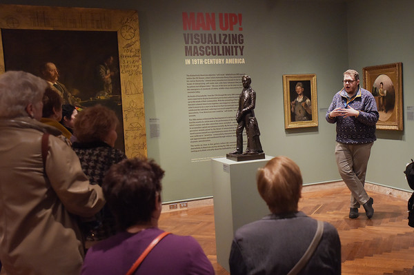 TIM JEAN/Staff photo <br /> <br /> Gordon Wilkins, right, Associate Curator of American Art, leads a tour of Man Up! Visualizing Masculinity in 19th-Century America, at the Addison Gallery of American Art in Andover.     2/4/20
