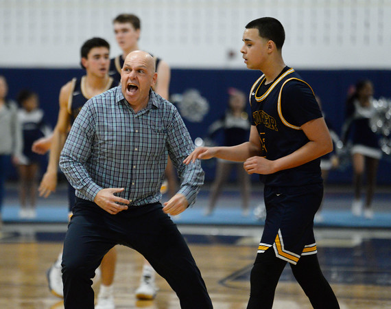 CARL RUSSO/Staff Photo. Andover head coach, David Fazio gets a little excited during a time out as Andover fights to keep the score close. Lawrence defeated  Andover 60-54 in boys Basketball action in the D1 North tournament. 2/25/2020.