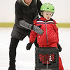 "MIKE SPRINGER/Staff photo<br /> Instructor Leslie Sharrio helps five-year-old Nico Materazzo stay on his feet during an ""It's Great to Skate"" ice skating clinic Monday at Phillips Academy in Andover.<br /> 2/17/2020"