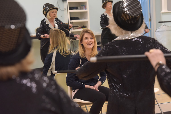 TIM JEAN/Staff photo <br /> <br /> Professional dancer Jonalyn Saxer from Broadway's Mean Girls watches members of the Sunset Tappers during a their weekly gathering at Dance Infusion in Andover. Saxer is a cousin with one of the dancers.   2/5/20