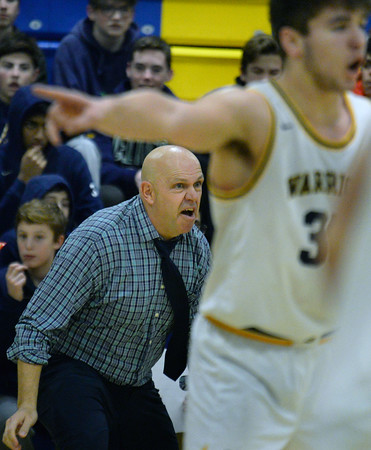 CARL RUSSO/Staff photo Andover's head coach, David Fazio. Andover defeated Lawrence 67-57 in boys basketball action Friday night. 2/14/2020.