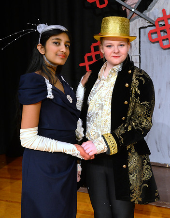 CARL RUSSO/Staff photo From left, Abinaya Ganesh, 8th. grader as Baroness Bomburst and Audrey Fiore, 7th. grader as Baron Bomburst are rulers of  Vulgaria  and want to steal Chitty Chitty Bang Bang.      <br /> <br /> The Wood Hill Middle School Drama Club will present  the musical Chitty Chitty Bang Bang on Friday, February 7th. at 7 pm and Saturday, February 8th. at 2 pm. Tickets are $10.00 in advance and $12.00 at the door.  1/31/2020