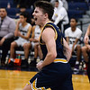 CARL RUSSO/Staff photo. Andover's captain, Charlie McCarthy celebrates after scoring a basket on a break away. <br /> <br /> Unfortunately after a hard fought game, Andover was defeated by Lawrence 67-63 in boys' basketball action Tuesday night. 1/14/2020