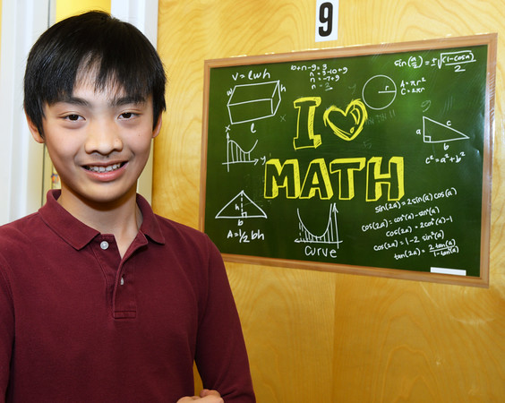CARL RUSSO/Staff photo. Aaron Huang of Andover, a 7th. grader at the Pike School, is a nationally recognized math genius. He has been advancing his math skills as a student at the Russian School of Mathematics in Andover since first grade. 1/10/2020