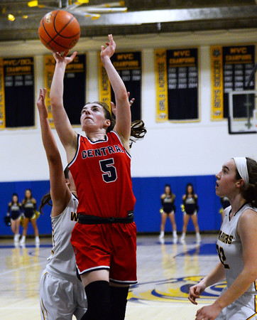 CARL RUSSO/Staff photo Central's Claire Finney sails to the basket. Central Catholic defeated Andover 60-37 in girls basketball action Tuesday night. 1/28/2020
