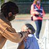 """CARL RUSSO/staff photo. Approximately 280 people by appointment received their flu shots on Wednesday, October 7. The Andover Health Division Department offered two """"High-Dose"""" Flu Clinics for Seniors, 65 yrs. and older, at the Bancroft Elementary School, on Wednesday, October 7th and Wednesday, October 14th, from 9 a.m. to 12 noon, by appointment only. 10/7/2020"""