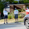 TIM JEAN/Staff photo<br /> <br /> Teachers in the Andover Education Association stand in Elm Square with signs while protesting having to return to inside the school buildings. The AEA president says the school is not safe enough for teachers to work. Students are expected to return to school next week. 9/8/20