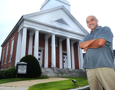 CARL RUSSO/Staff photo Reverend Lyndon A. Myers stands in front of his church. Andover Baptist Church will proudly celebrate 15 years of pastoral leadership under the Reverend Lyndon A. Myers on Sunday, August 25.  8/23/2019