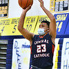 CARL RUSSO/staff photo Central's Marcus River takes the jump shot. Andover high Warriors defeated Central Catholic Raiders 60-57 is the first boys basketball game of the season. 1/12/2021