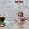 TIM JEAN/Staff photo<br /> <br /> Zachary Keller, 6, left and his sister Daphne, 3, play in the water at Andover's Pomps Pond.   7/2/20