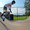 TIM JEAN/Staff photo<br /> <br /> Luke Brezner, 14, of Andover, jumps into one of the ramps at Andover Community Skate Park on Friday afternoon. The park is run by Andover's Youth Services and riders must sign up online. Its open Wednesday through Sundays from 1:00-7:00pm.    7/23/21