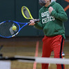 TIM JEAN/Staff photo<br /> <br /> Dylan Silver, 10, swings his racket towards the ball as he practices the proper forehand technic during a Tennis Academy program held at South School.  3/15/21