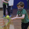 TIM JEAN/Staff photo<br /> <br /> Connor Vincent, 4, swings his racket towards the ball during the Pee Wee Tennis class. Children learned basic fundamentals during the Andover Recreation learn to play tennis program at South School.  3/15/21