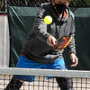TIM JEAN/Staff photo<br /> <br /> Paul Bourassa, of Dracut, returns a volley during an adult Pickleball Tournament at Andover's Recreation Park.    5/1/21